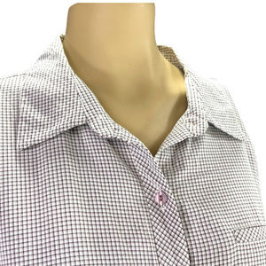 Purple & White Button Front Career Top~Long Sleeve
